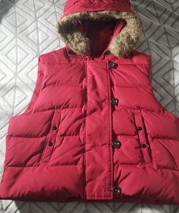 GAP Vest Faux Fur Red Hooded Down Filled Polyester
